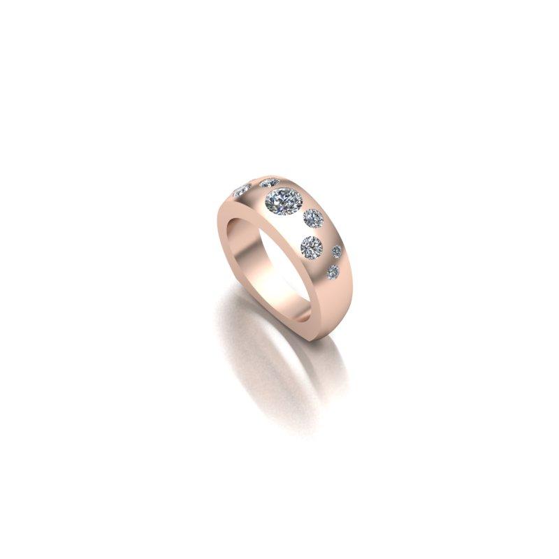 Custom Rose Gold Band w/ Flush Set Diamonds
