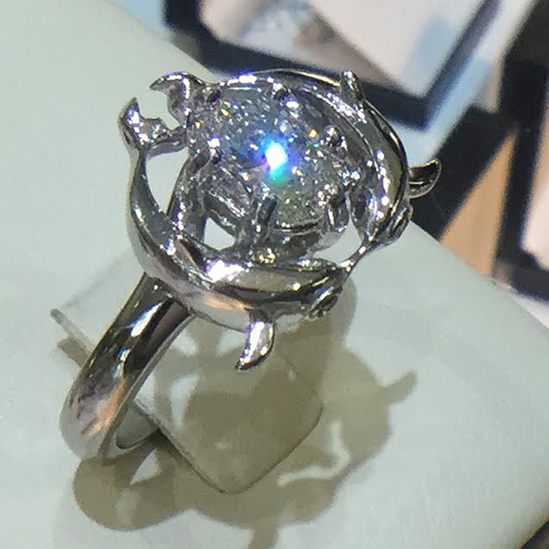 Custom Dolphin Engagement ring