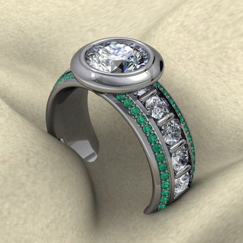 Custom Bezel Ring with Emeralds and Diamonds