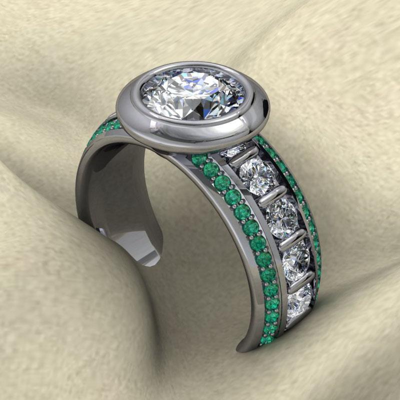 Custom Bezel Ring with Emeralds and Diamonds